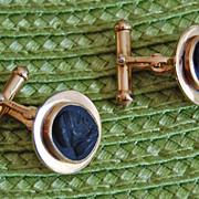 Unusual LAVA CAMO CUFFLINKS - 14K Gold, Antique Lava Cufflinks