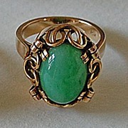 Fine Vintage Green JADE RING - 14K Gold Mounting