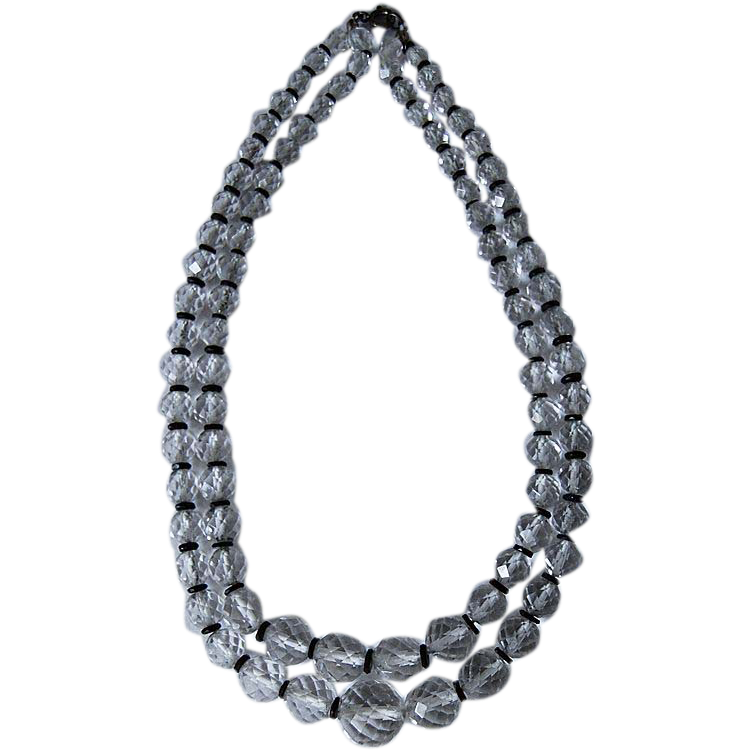 c1920, Rock Crystal NECKLACE - Double Strand