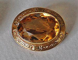 c1890, CITRINE BROOCH - wide 14K gold frame