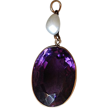 Antique AMETHYST PENDANT -  Baroque Pearl, 14K Gold, Large