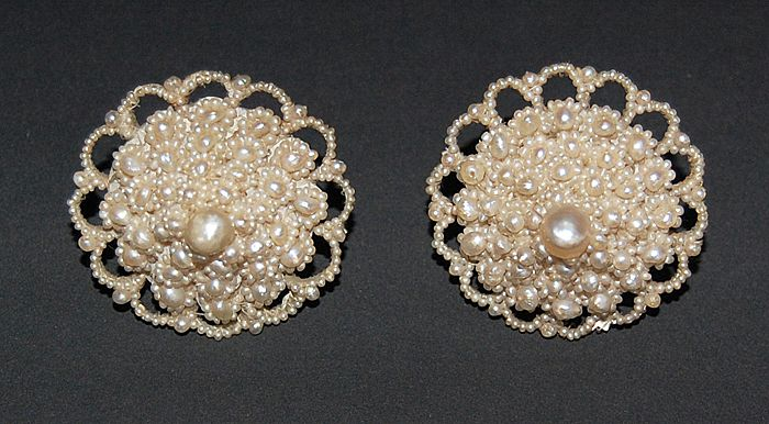 Tremendous Victorian SEED PEARL Earrings - Large