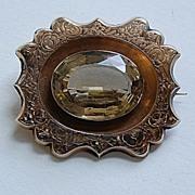 Victorian CITRINE BROOCH - Ornate Gold Frame
