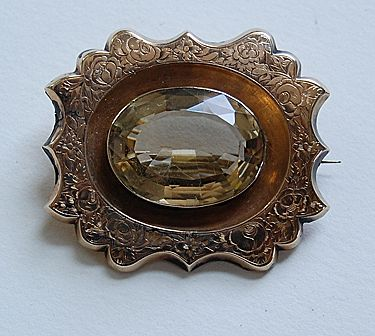 Victorian CITRINE BROOCH - Ornate Gold Frame