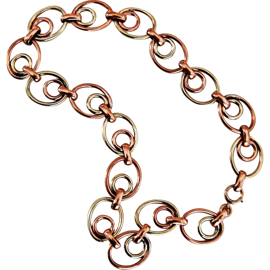 Vintage DOUBLE LINK NECKLACE - Simons Brothers, (14K & Sterling), Modernist design