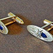 14K Gold INSECT CUFFLINKS – Sapphire & Pearl, Vintage