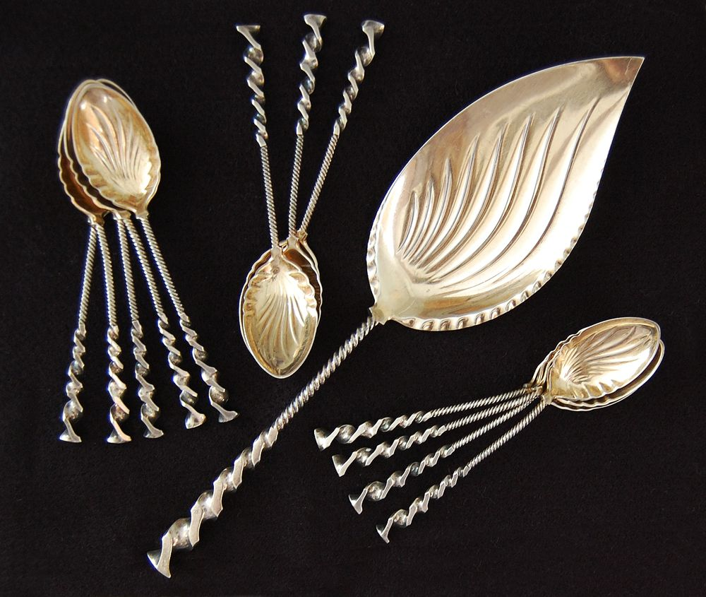 Durgin - STERLING ICE CREAM SET  (Flat Twist Handle) Server / Spoons