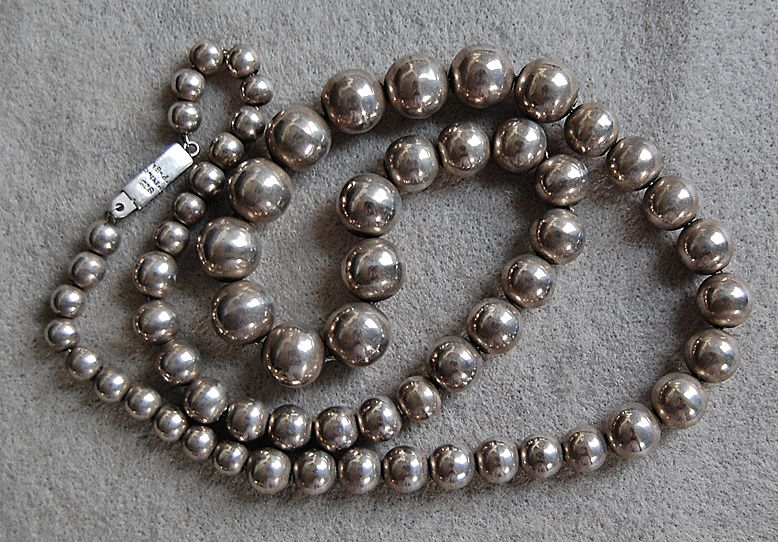 "Vintage MEXICAN STERLING Bead Necklace  (28"" long)"