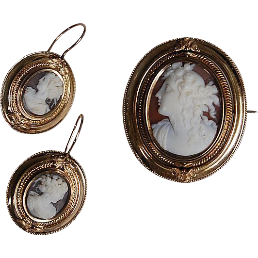 Victorian STONE CAMEO SET - Brooch & Earring (Hair Locket) - 14K Gold (c1850)