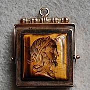 Victorian WATCH FOB LOCKET - 14K Gold  (Tigers Eye & Black Onyx)