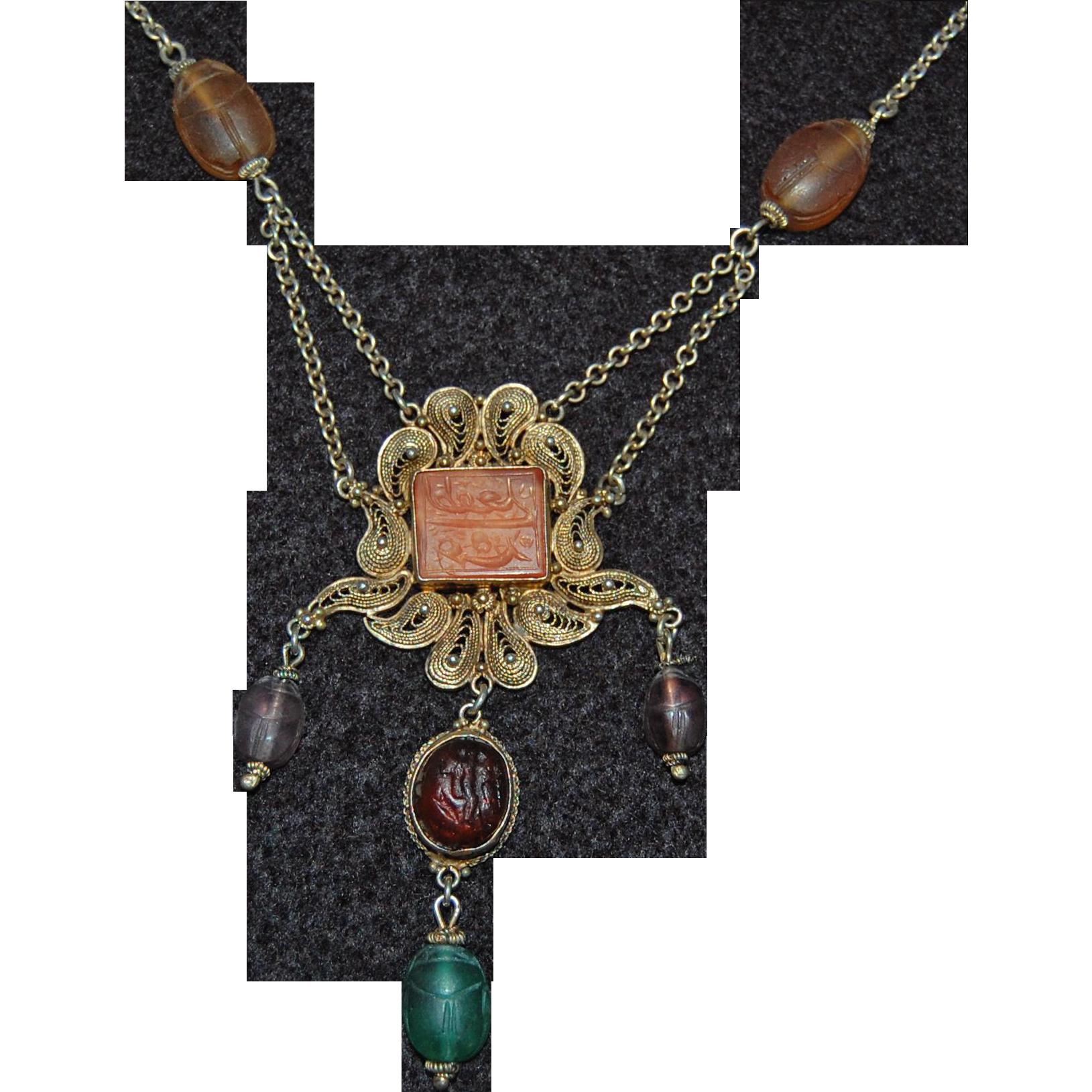 antique SCARAB FESTOON NECKLACE - Arabic Carved Medallion center, c1900