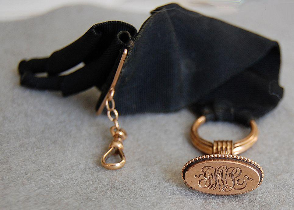 Fine Victorian 14K GOLD WATCH FOB - Original Black Ribbon