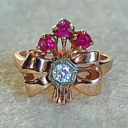 Retro RUBY & DIAMOND RING - 14K Gold  (Cocktail Ring), circa: 1945