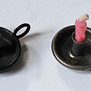 c1920 - miniature Dollhouse metal CHAMBERSTICKS  (pair)