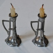 Antique Miniature ARTS & CRAFTS Candlesticks - DOLLHOUSE Furniture
