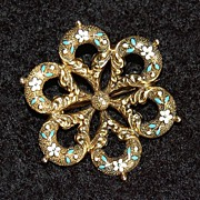 Victorian 14k GOLD & ENAMEL BROOCH -  Forget Me Nots  (Scatter Pin)