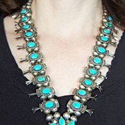 Important SQUASH BLOSSOM Necklace - Native Am. Indian (Silver & Turquoise)
