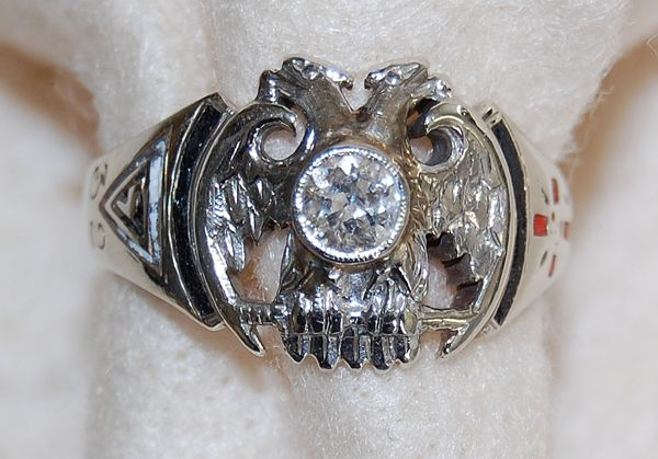 Vintage MASONIC 32nd Degree RING - Diamond (14K White Gold) - LARGE