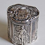 Antique Solid Silver DUTCH BOX - Hunting & Courtship Motifs  (Dogs, Horses)