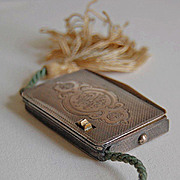 Antique TINDER BOX - Flint & Cord - Ornate Continental Solid Silver (fire making box)