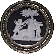 c1900 - WEDGWOOD & STERLING BOX - Round, Black & White, CUPID SCENE - Antique