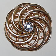 Vintage 14K Gold & Diamond SWIRL BROOCH - Heavy Weight, c1940