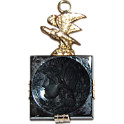 Antique 14K Gold, BLACK ONYX INGLIO Pendant / Charm - 14K Gold Bird  / Profile of Woman