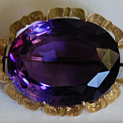 Mid Victorian AMETHYST BROOCH – 14K Gold Frame (Large / Ornate)