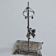19th Century - Miniature MAYPOLE & CUPID / Continental Silver / 800 Mark