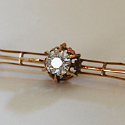 Victorian DIAMOND BAR PIN - exceptional, VS1 / H / Old European Cut 76 point / 14k Gold