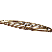 Vintage 14k Gold DIAMOND & PEARL Bar Pin - Open Work Gold Brooch