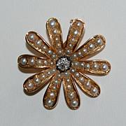 Victorian SUNBURST BROOCH / PENDANT - 14k gold, pearl, diamond