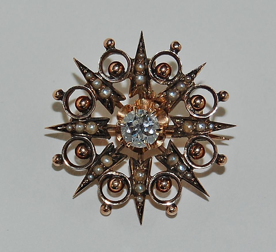 antique Victorian DIAMOND PENDANT / BROOCH - 14k gold, Sunburst, Pearls,  GIA I-VS2