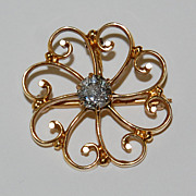 Victorian DIAMOND PENDANT / BROOCH - 14k gold, Scatter Design, European cut / color K / clarity VS2