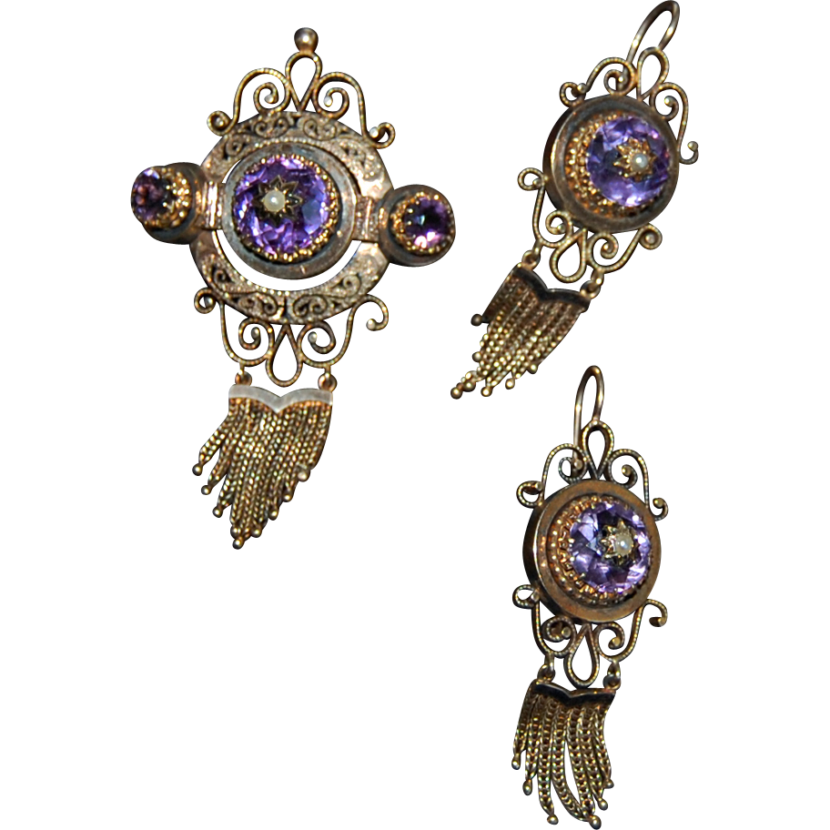 Very fine Victorian BROOCH & EARRING SET - Amethyst, Pearl, Black Enamel, 14K GOLD