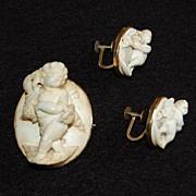 Victorian LAVA CAMEO BROOCH & EARRINGS:  14K Gold  / Cherub / Cupid / high relief / non-pierced