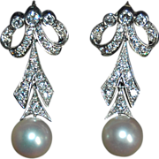 Vintage DIAMOND EARRINGS & WHITE PEARL Drop - 14K White Gold - Long Dangly Diamond Earrings