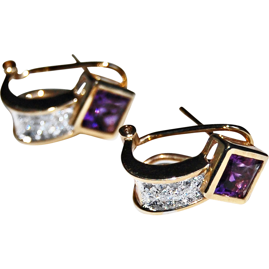 vintage AMETHYST & DIAMOND EARRINGS - 14k yellow & white Gold, CUFF Earrings