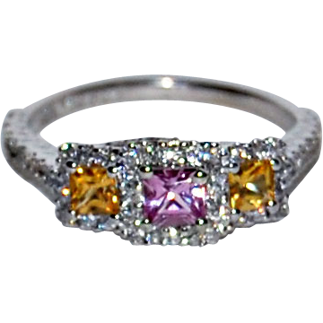 PINK & YELLOW SAPPHIRE Ring - 77 Diamonds, 18k Gold - very fine