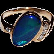 Vintage  BLACK OPAL RING  -  14k Gold, Diamonds  -  Large Black Opal