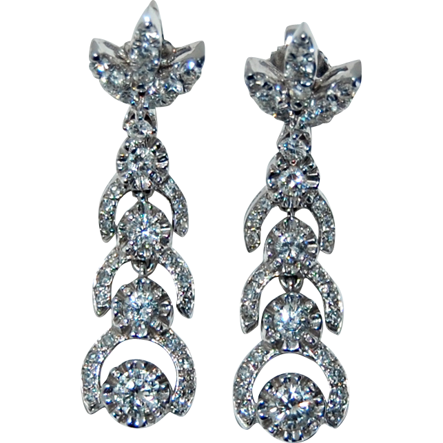 Long Vintage DIAMOND EARRINGS - 14K White Gold - Stunning