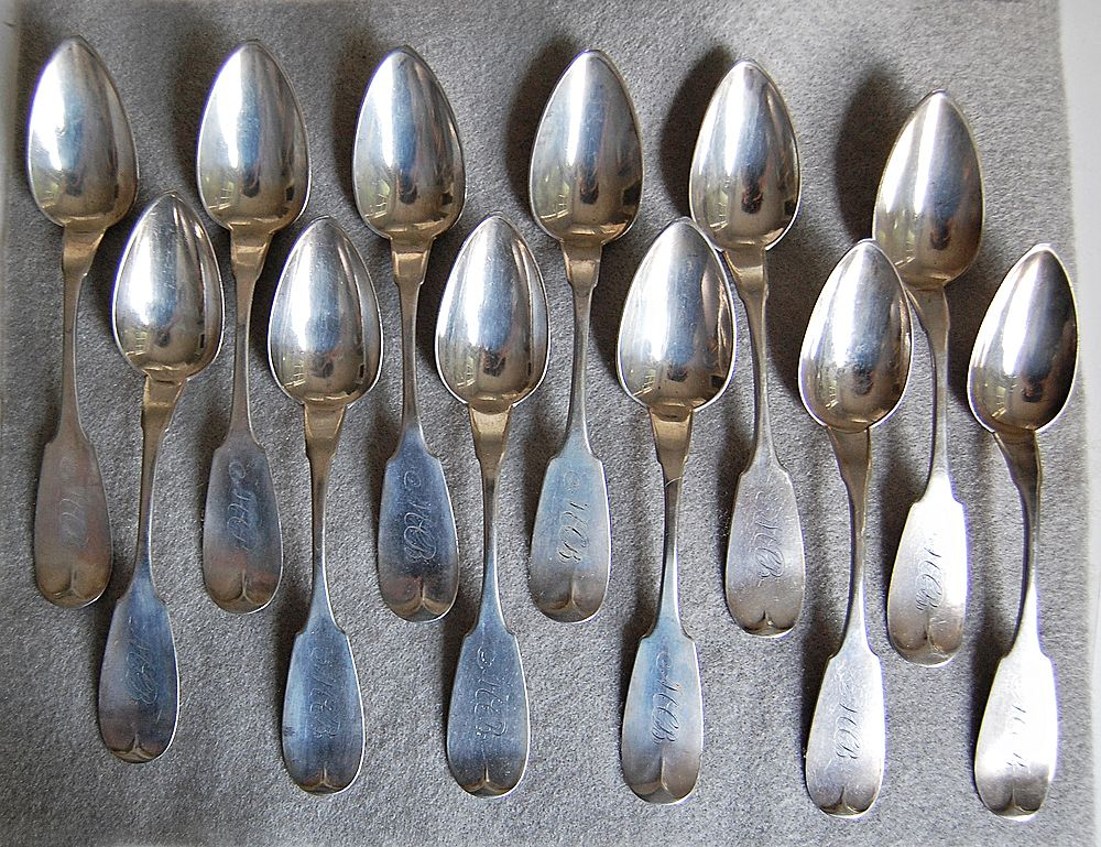 Coin Silver FIDDLEBACK SPOONS:  Jos. Seymour / W & Hughes (set of 12)