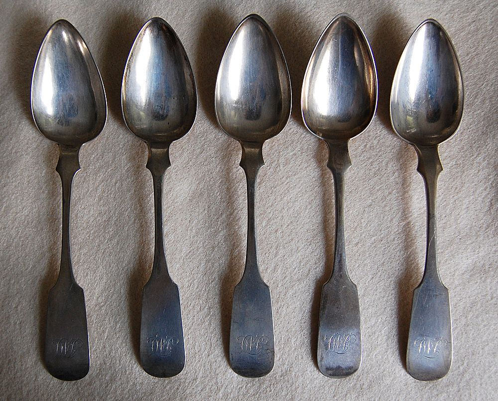 Coin Silver FIDDLEBACK SPOONS - R & W Wilson  (set of 5 Dessert Spoons)