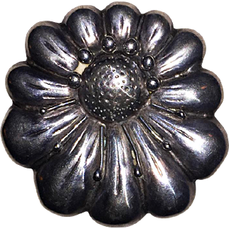 Large CORO MEXICAN Sterling Brooch - Heavy weight FLOWER, c1940