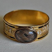 Georgian MEMORIAL RING - HAIR Locket, Enamel, Gold, c1796