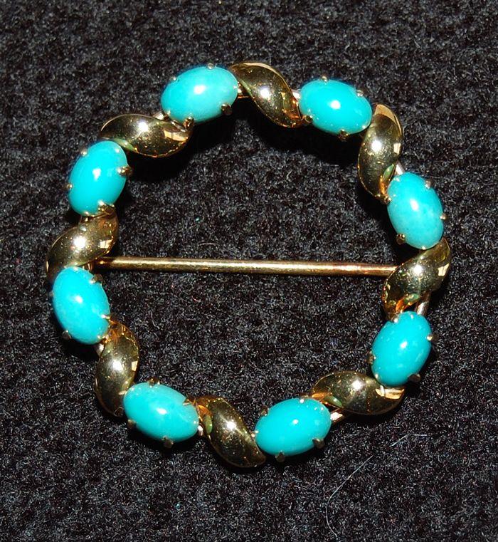 Mid Century Vintage:  TURQUOISE CIRCLE PIN - 14K Gold, Signed (Krementz ?)