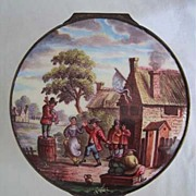 19th Century ENAMEL BOX - Villager's Dancing Scene