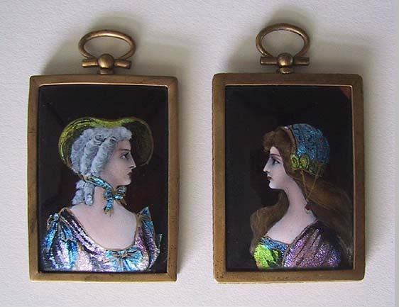 Antique LIMOGES ENAMEL Portraits (pair) / framed