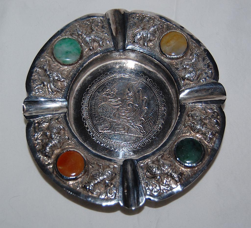 THAI SOLID SILVER COMPOTE - Animals & Semi Precious Stones Inserts