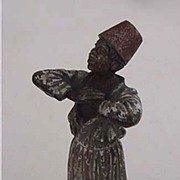 Antique AUSTRIAN BRONZE - bronze & enamel figurine (ARAB BOY)